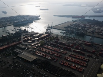 Aerial of shipping dock.