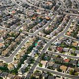 Aerial of suburbia.