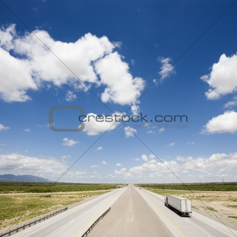 Highway with tractor trailer.