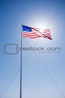 American flag in sky.