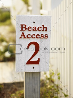 Beach access sign.
