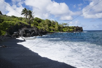 Black sand beach in Maui.