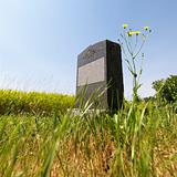Headstone in field.
