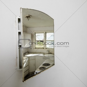 Kitchen in mirror.