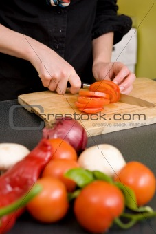 Slicing Tomatoes Detail