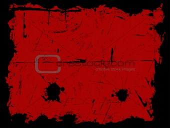 Black Grunged Border with Red Background