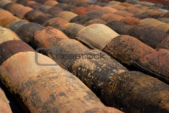 Ancient European Clay Roof Tiles