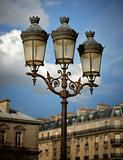 Lamps Against a Partly Cloudy Sky, Notre Dame Cathedral