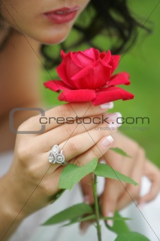 Beauiful Woman and Rose