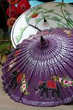 Painted umbrellas in a handicraft village in Thailand