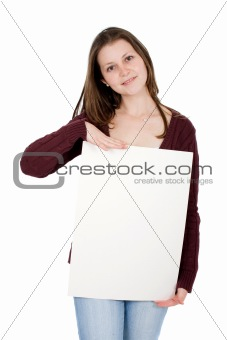 casual girl holding a cardboard