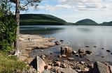 Waterfront scenery shore of Eagle Lake Acadia National Park