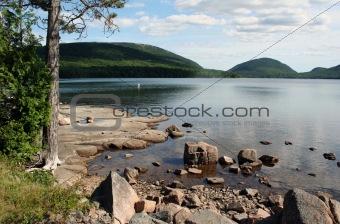 Waterfront scenery shore of Eagle Lake Acadia National Park