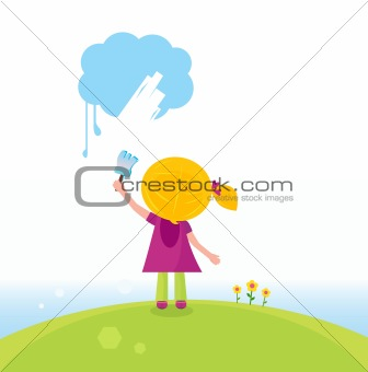 Little artist kid painting on the sky in spring nature