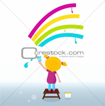 Little artist - cute child painting Rainbow on the Wall