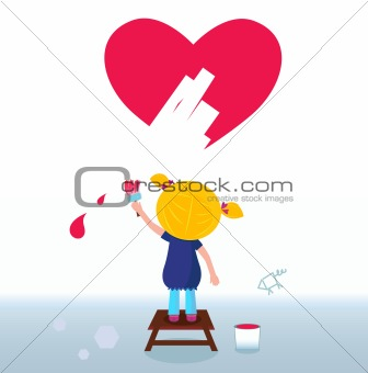 Little artist - cute girl painting red Heart on the Wall