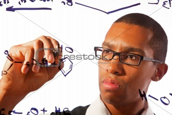 A student works on chemistry