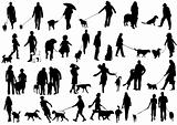 Vector illustration of people with dog