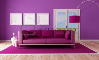 country purple living room