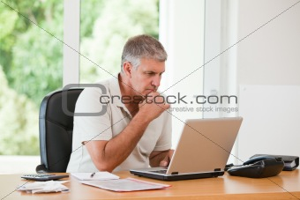 Man working on his laptop