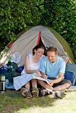 Couple camping in the garden