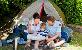 Family camping in the garden