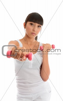 Fitness girl with hand weights
