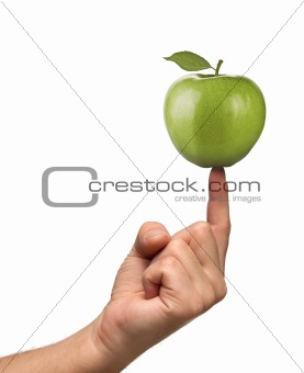 Apple on finger