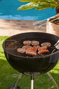 A barbecue in the garden