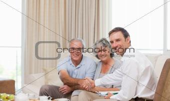 Seniors with assurance man  looking at the camera