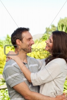 Enamored couple in the garden