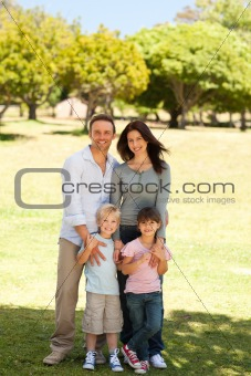 Portrait of a family in the park