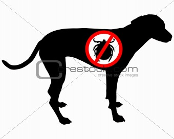 Dog prohibition sign for ticks