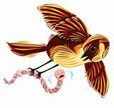 Bird and worm comic illustration.