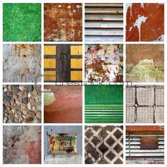 16 grunge textures set