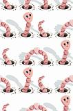 Worms doing holes seamless pattern.