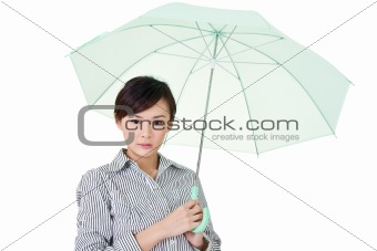 Business woman holding umbrella