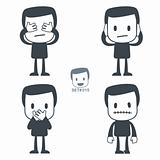 Blind Deaf Mute. Icon man. Set#015