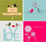 Collection funny cards with bird
