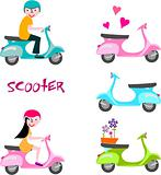 Boy and girl on scooter