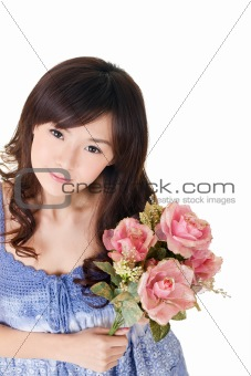 Asian woman holding roses
