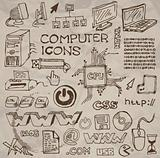 Set of hand-drawn computer icons (vector)