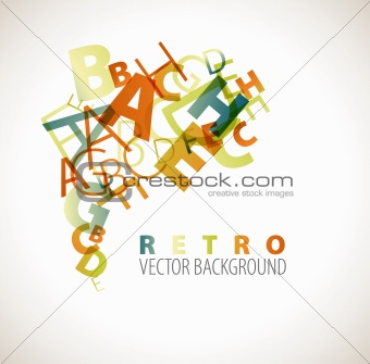Abstract retro background with alphabet