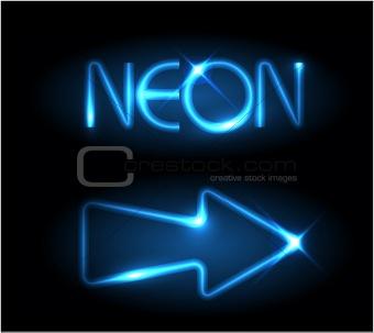 Blue neon arrow