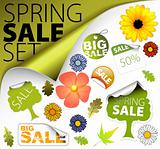 Set of fresh spring sale elements