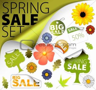 Set of fresh spring sale elements