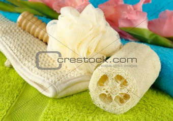 Towels with Bath Spa Kit and Gladiolus