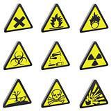vector 3d warning signs