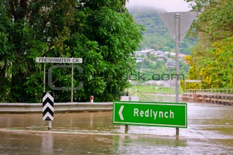 Flooded roundabout and bridge in Queensland, Australia