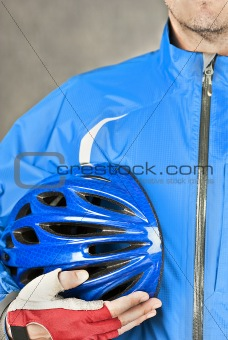 Cyclist Holds Helmet 2